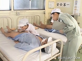 Low-spirited Japanese nurses well-known BJs beside frying patients