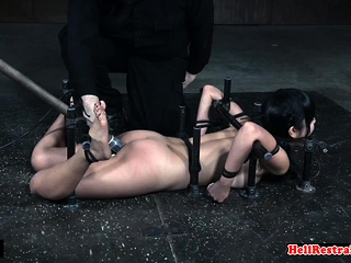 Cute asian sub gets her pussy toyed by skillful